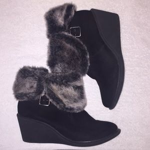 A.N.A fabric upper faux fur heeled boots, size 9M.